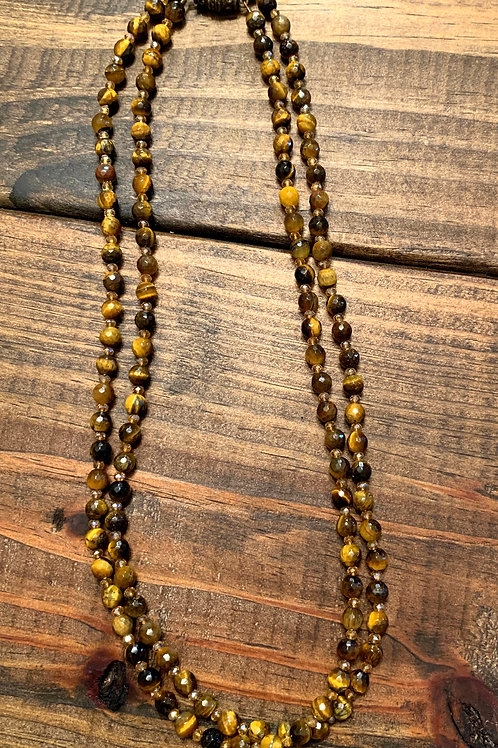 Tigers Eye and Crystal Long Necklace