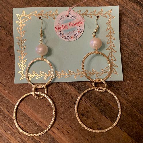 Gold Triple Hoop Pearl Earrings
