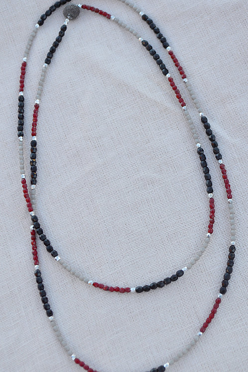 Crimson, Black, and Grey Crystal Multi-Way Wrap