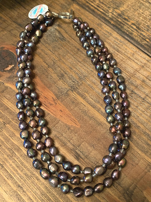 Peacock Pearl Triple Strand Necklace