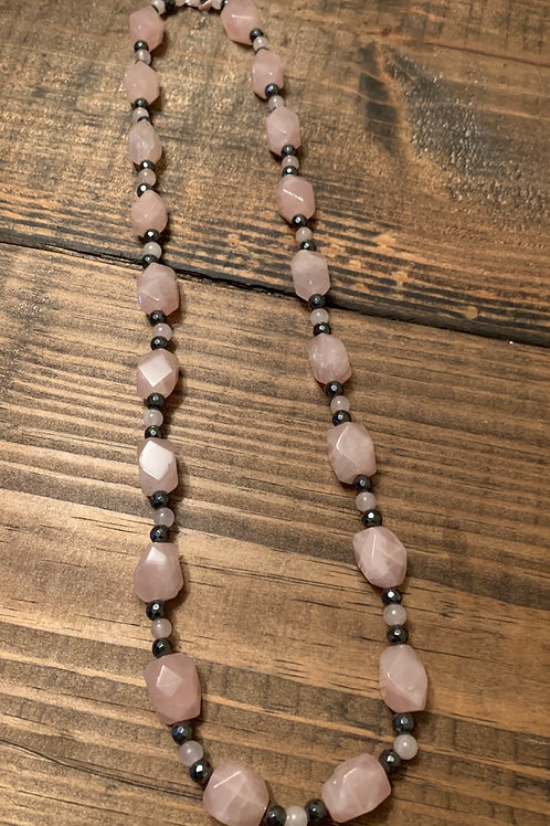 Rose Quartz with Hematite Necklace