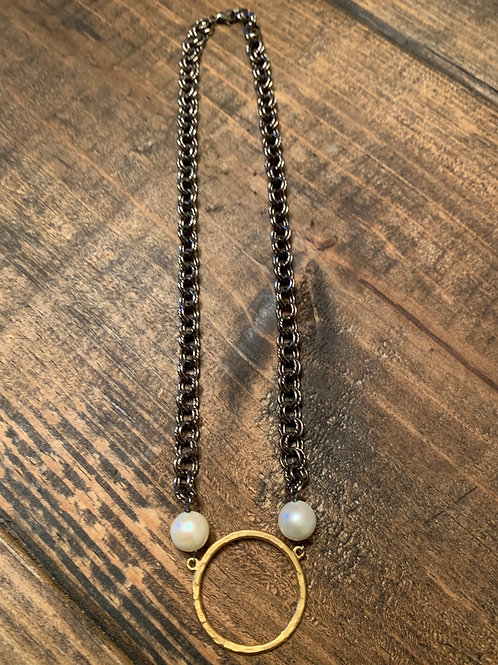 Gold Ring with Pearls and Gunmetal Chain Choker
