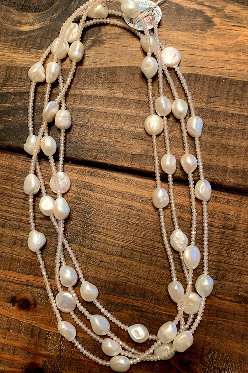 Coin and Potato Pearls with Pink Crystals Necklace