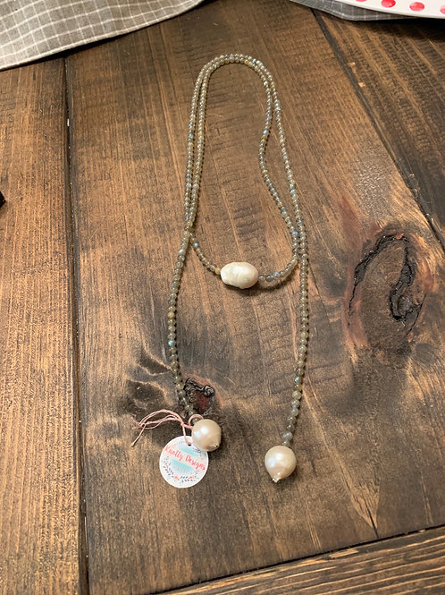 Labradorite and Baroque Pearl Lariat Necklace
