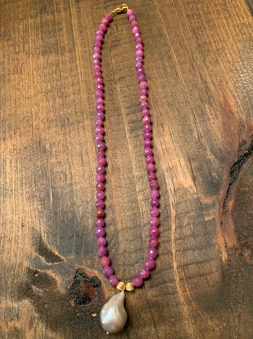 Pink Freshwater Baroque with Ruby Necklace