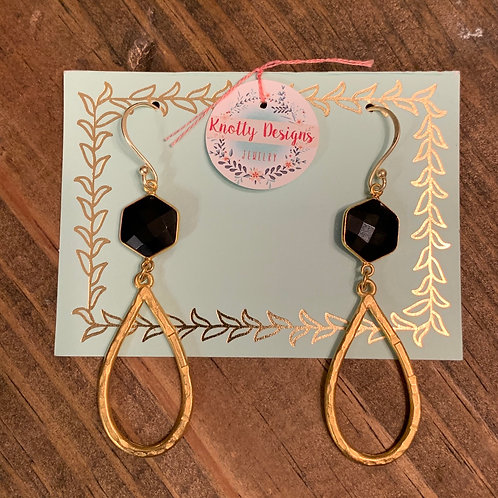 Black Onyx Hexagon with Gold Hammered Teardrop Earring