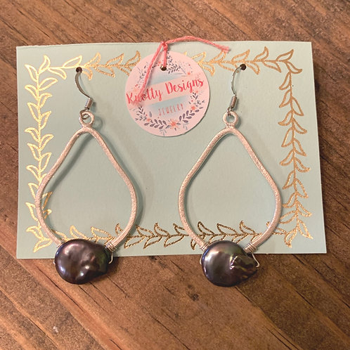 Silver Teardrop with Peacock Coin Pearl Earrings