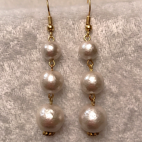 White Cotton-pearl Stack Earrings