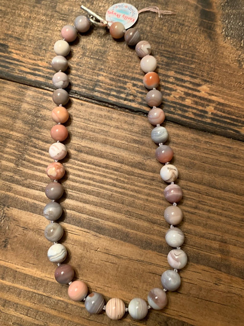 Grey Botswana Agate Knotted Necklace
