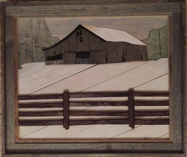 Barn with Fence Winter