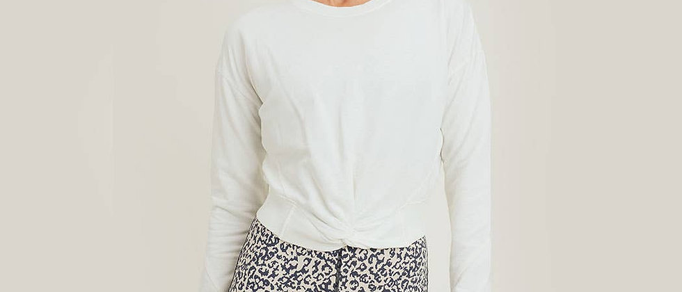 Twist-Front Terry Cotton Pullover