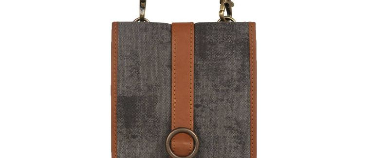 Grey Quest Cellphone Crossbody - Upcycled Genuine Leather