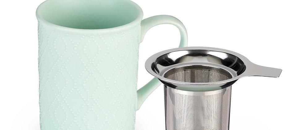 Annette™ Souk Mint Ceramic Tea Mug & Infuser by Pinky Up®