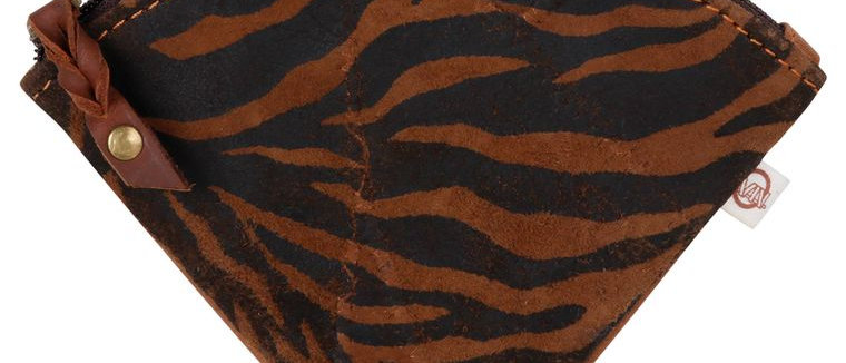 Zebra Triangle Pouch - Upcycled Genuine Leather