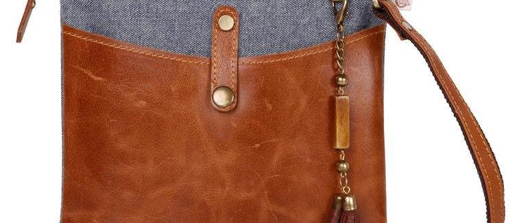 Denim Patch Crossbody - Upcycled Genuine Leather