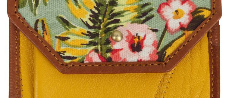 Yellow and Floral Card Wallet