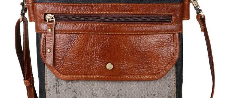 Grey Quest Medium Crossbody - Upcycled Genuine Leather