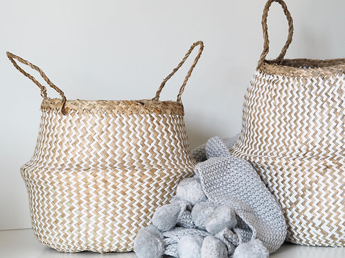 Zig Zag white and seagrass belly basket