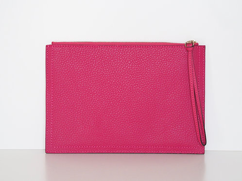 Raspberry pink luxury leather clutch front view