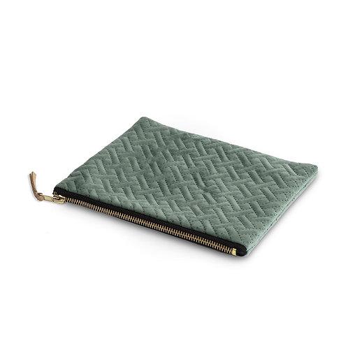 Sage green herringbone cosmetic purse