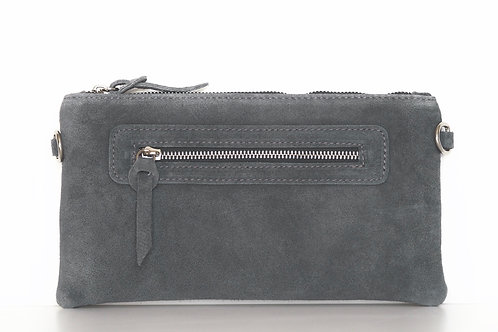 grey suede clutch front view