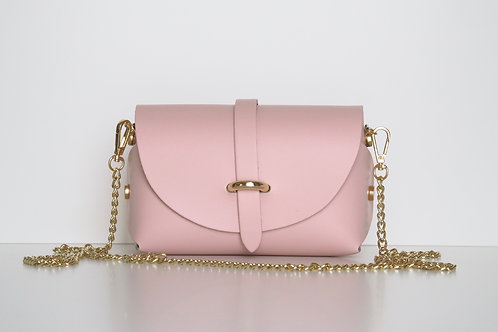 Baby pink Emily bag with gold chain shoulder strap