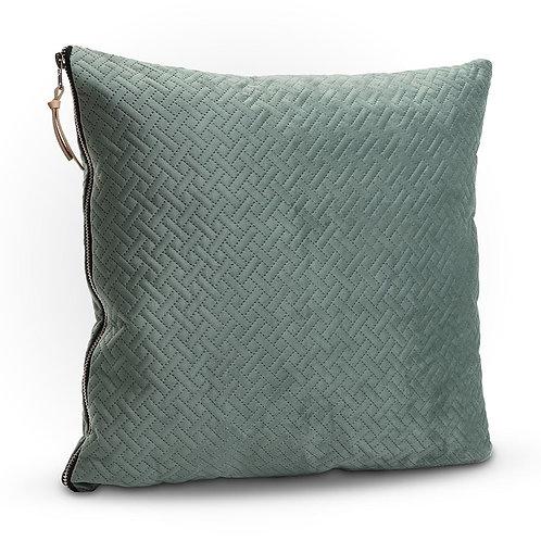 Sage green herringbone cushion