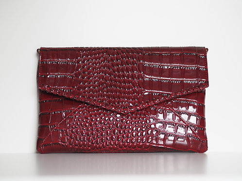 faux leather burgundy clutch mock croc high gloss