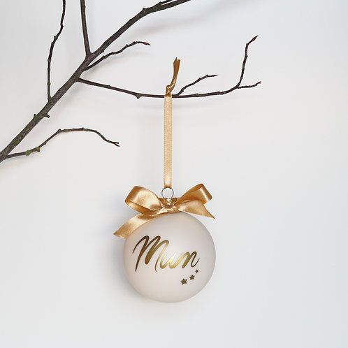 Cream personalised glass bauble