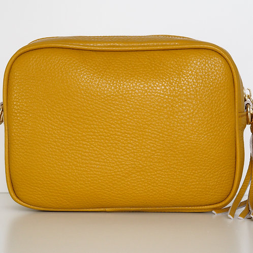 mustard tassel bag front view