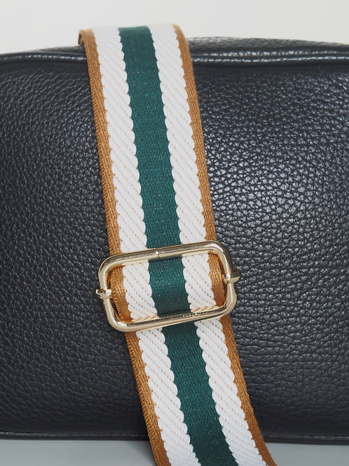 Green stripe bag strap