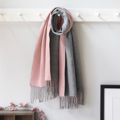 Lisa Angel two tone pink and grey tassel scarf