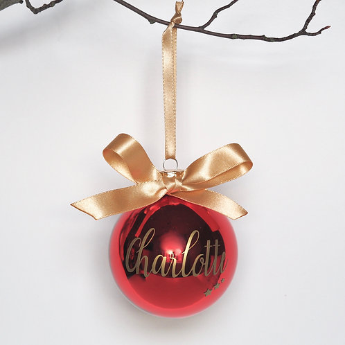 Red personalised glass bauble