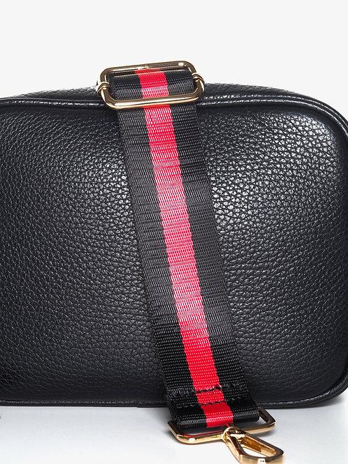 Black and red stripe bag strap