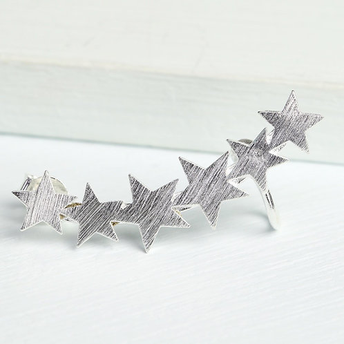 Silver single shooting star ear cuff