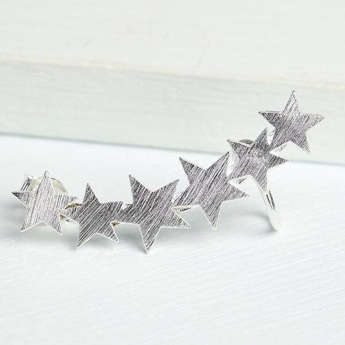 Silver single shooting star ear cuff