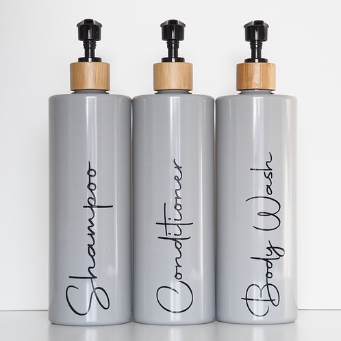 Grey reusable pump bottle (500ml) with bamboo top