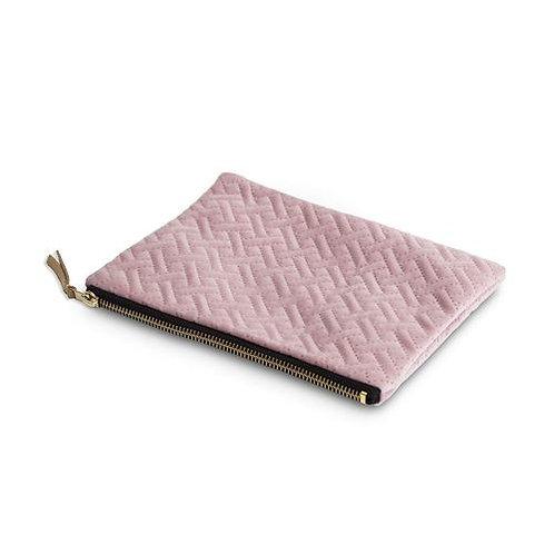 Pink herringbone cosmetic purse