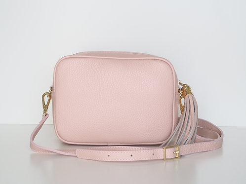 baby pink tassel bag with shoulder strap