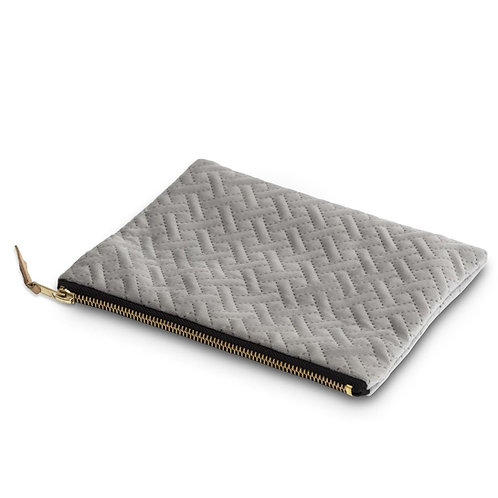 Grey herringbone cosmetic purse