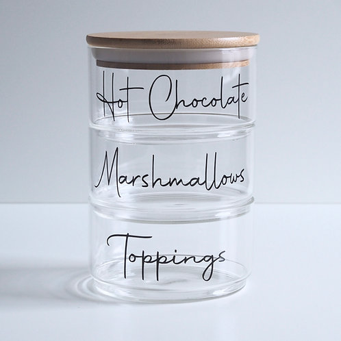Stacking glass Jar trio with bamboo lid