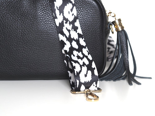 Black and white patterned bag strap
