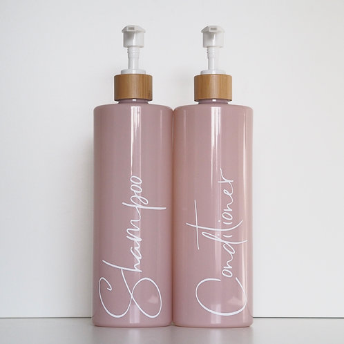 Pink reusable pump bottle (500ml) with bamboo top