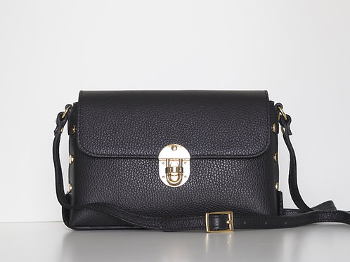 Studded leather shoulder bag front view in black
