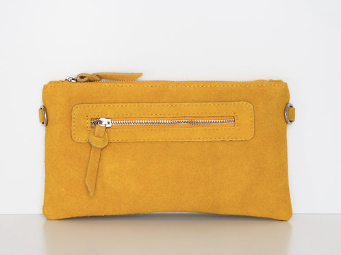 mustard yellow suede leather clutch front view