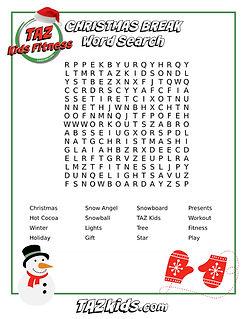 TAZ Kids Christmas Break Word Search_Lev
