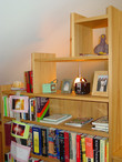 custom stairstep bookcase / display case constructed of cypress