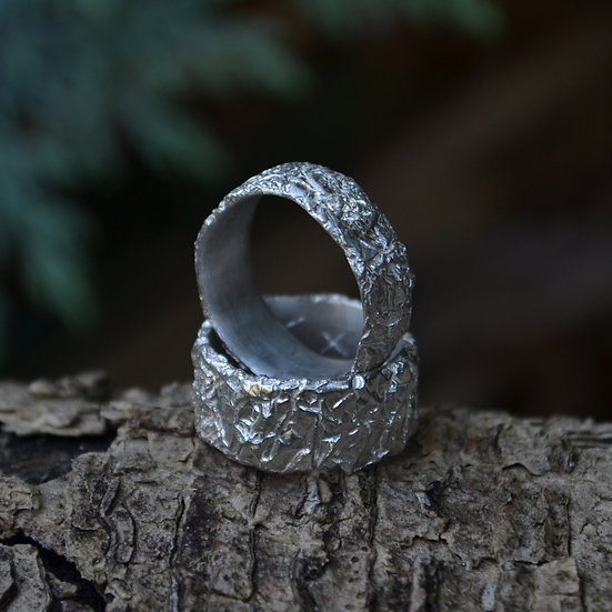 6x4 Crush Sterling Silver Ring