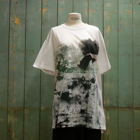 Y's Short Sleeve Top with Rubbed Poppy Print