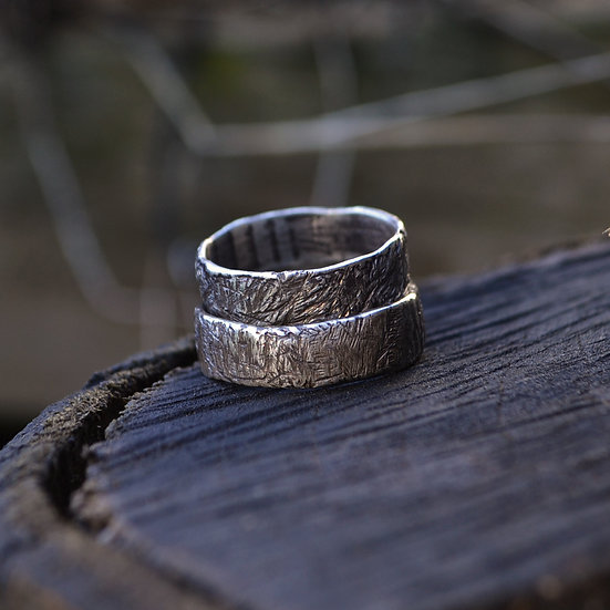 6x4 Scarring Sterling Silver Band